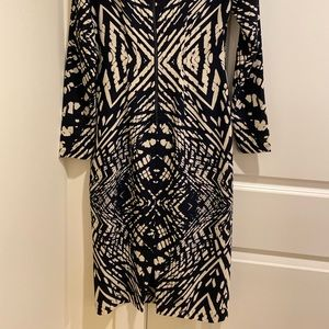 Maggy London navy patterned midi dress